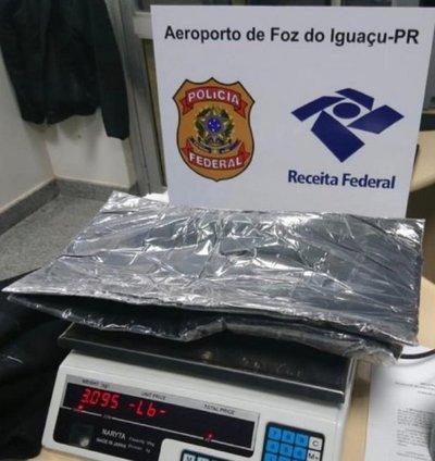 Paraguayo detenido con cocaína en Aeropuerto de Foz de Iguazú