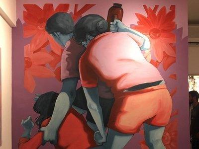 """""""Épica pelea"""" de vecinos fue pintada en un cuadro"""
