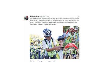 Silencio: Ministro bicicletó con alumnos  y  viceministra se puso a cantar en la tele