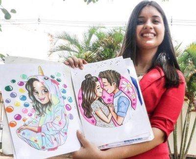 A través del arte, una joven dibuja las maravillas que su imaginación recrea