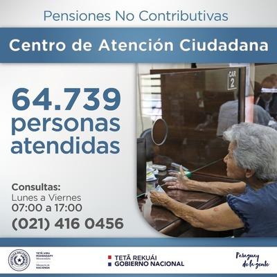 Pensiones No Contributivas atendió más de 64 mil consultas
