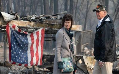 Donald Trump presenció los efectos del incendio en California