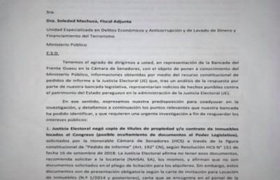 Frente Guasú solicita a la Fiscalía investigar