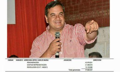 Carlos Arrechea en concepto de salario ya cobró al estado 4.034 millones de guaraníes