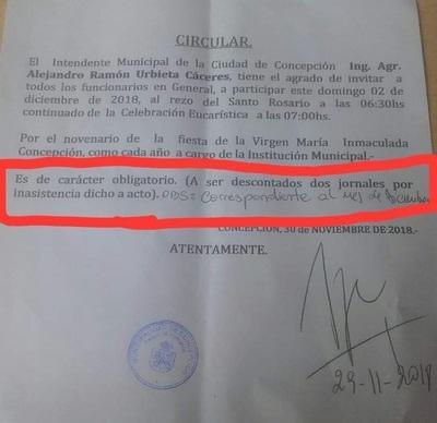 Concepción: Obligan a funcionarios municipales a participar de misa