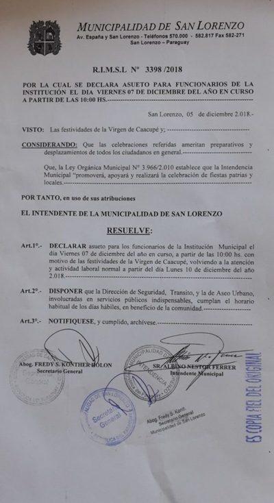Municipalidad: Este viernes atenderán sólo hasta las 10:00 hs