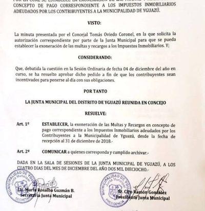 Con exoneración de multas y recargos buscan que contribuyentes se pongan al día en Yguazú