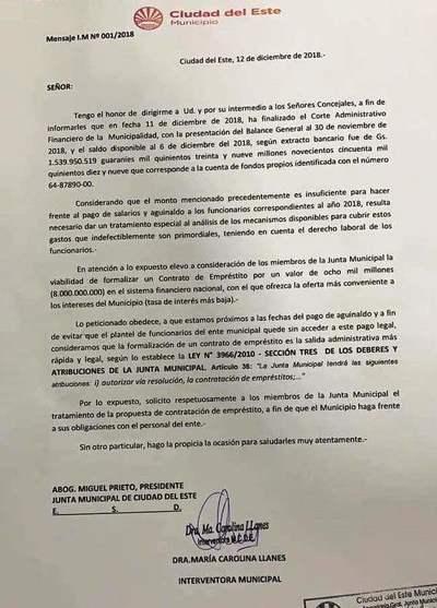 """Millonario préstamo """"informal"""" pidió interventora a concejales"""
