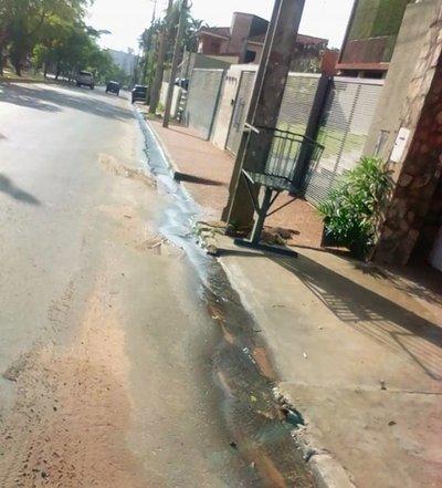 Pérdida de agua en barrio Madame Lynch