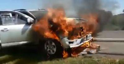 Vehículo se incendia en ruta IV, pero el conductor sale ileso
