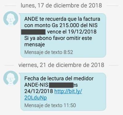 Ande utiliza sms para informar  a usuarios