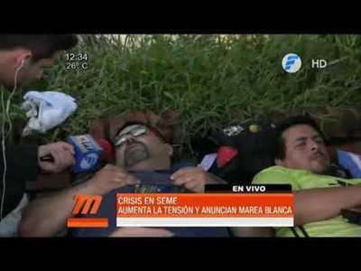 Funcionarios del SEME realizan huelga de hambre
