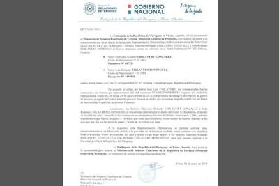 Caso Chilavert: Asuntos Consulares duda de nota de denuncia