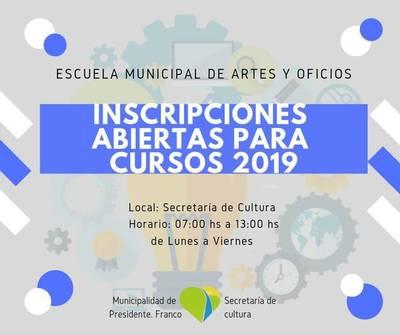 Habilitan inscripciones para cursos en Escuela Municipal de Artes y Oficios