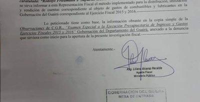 Fiscalía solicitó documentos sobre uso de combustibles a la gobernación