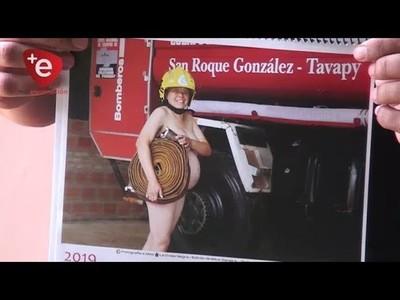 Bomberos que posaron desnudos promocionan su calendario en Encarnación