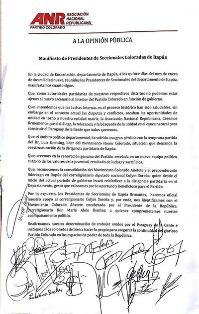 Horacio Cartes queda prácticamente sin respaldo político en Itapúa