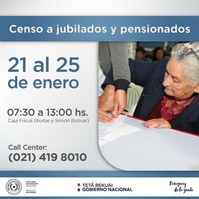 Nuevo censo para jubilados arranca el lunes 21 de enero