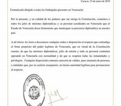 Guaidó insta a cuerpos diplomáticos a no obedecer a Maduro
