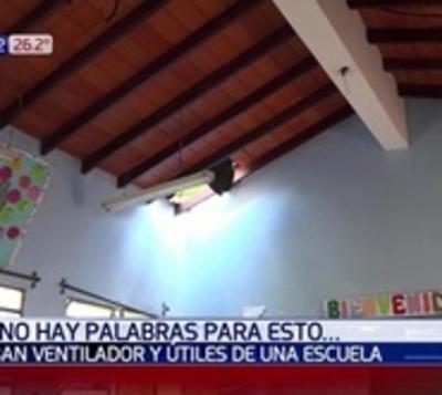 Destechan escuela para robar ventiladores y útiles escolares