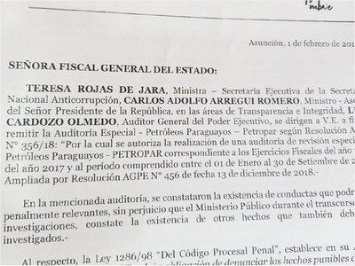 Gobierno presentó  denuncia sobre Petropar en la Fiscalía