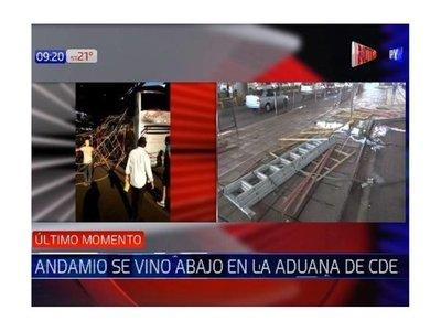 Andamio se vino abajo en la Aduana de Ciudad del Este