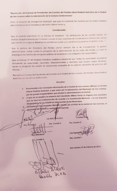 Directiva liberal encomienda a ediles que voten a favor de la intervención