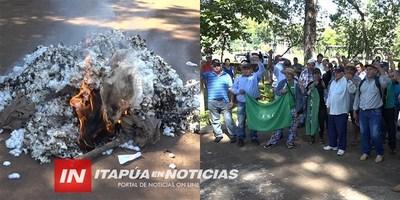 CNEL. BOGADO: QUEMAN ALGODÓN EN SEÑAL DE PROTESTA POR EL BAJO COSTO.