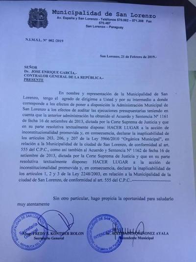 Recién asumido intendente de San Lorenzo solicita intervención de Contraloría