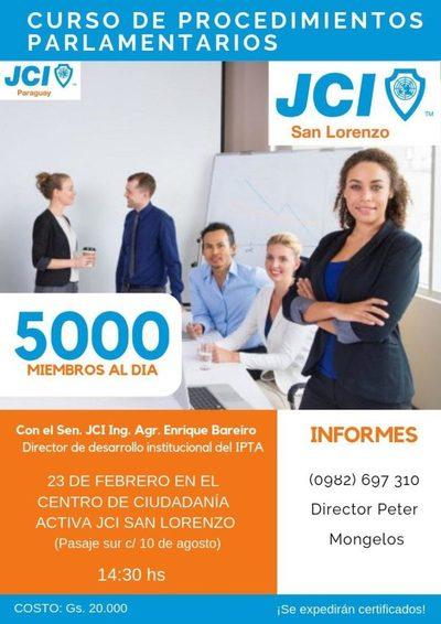 JCI de San Lorenzo organiza curso de procedimientos parlamentarios