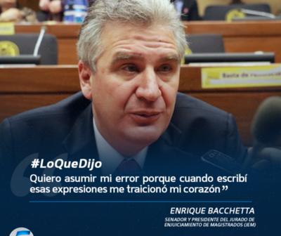 Enrique Bacchetta pide disculpas