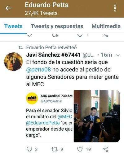 Añetete pide mimos del Presidente en medio de internismo