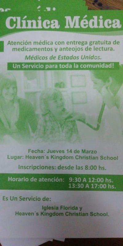 Harán atención gratuita de clínica médica en San Lorenzo
