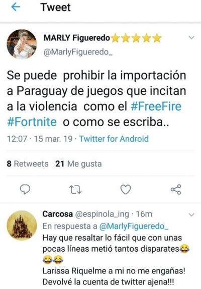Ex modelo Marly Figueredo pretende prohibir importación de Free Fire