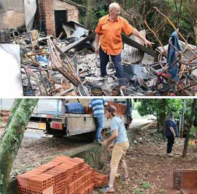 Asisten a una familia que perdió todo en incendio
