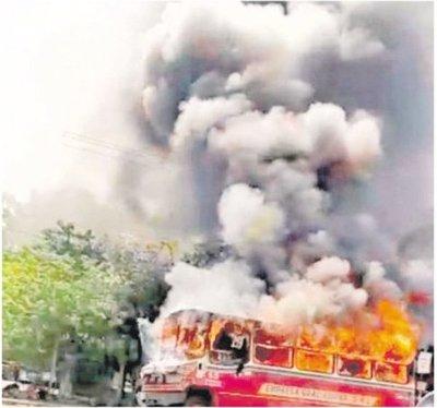 Se incendió un bus de la Línea 28