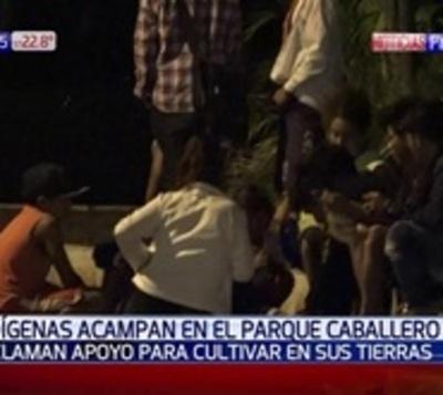 Indígenas en situación de riesgo acampan en parque Caballero