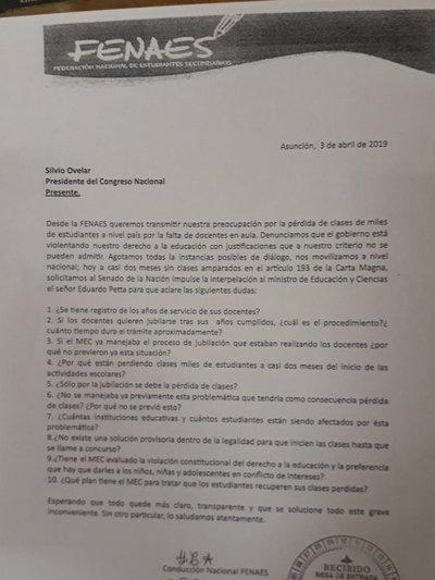 Fenaes presenta pedido de interpelación a Petta