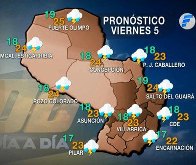 Lluvias y tormentas para hoy viernes