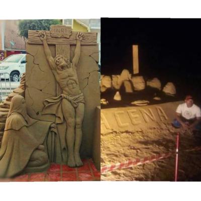 Ofrece esculturas de arena para Semana Santa