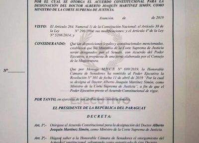 Alberto Martínez Simón ya es Ministro de la CSJ