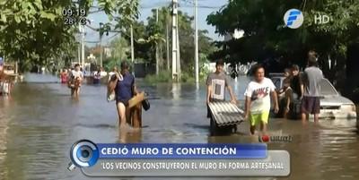 Muro de contención del río Paraguay cede y afecta a 250 familias