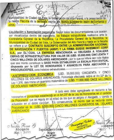 Payo Cubas y otros dos abogados reclaman US$ 5 millones a Puertos