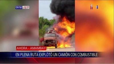 Camión con diesel explota en plena ruta