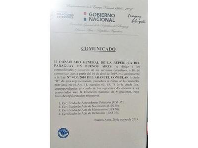 Molesta cobro de aranceles en Consulado en Buenos Aires