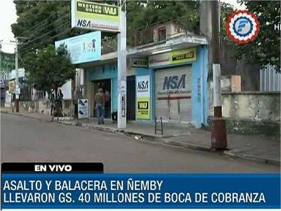 Millonario asalto y tiroteo en microcentro de Ñemby