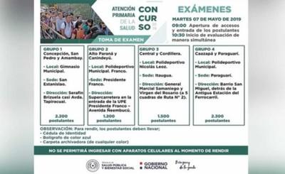 Concurso para APS será este martes en Franco