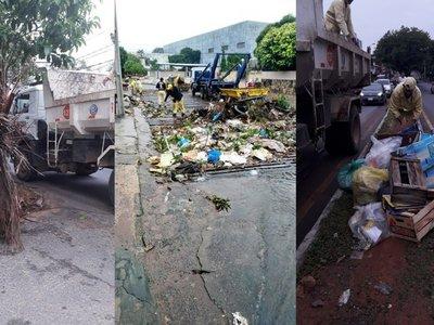 Tras temporal retiran de calles y desagües 100.000 kilos de basura