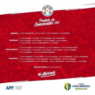 Con Roque y Tacuara incluidos, dieron a conocer pre-lista de la Albirroja para la Copa América