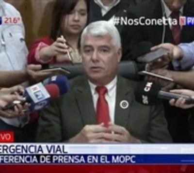 MOPC: Inversión mínima para reparar rutas será de USD 15 millones